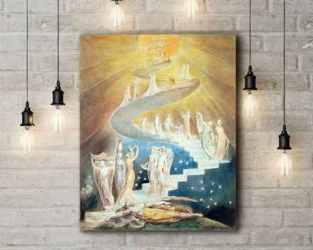 William Blake: Jacob's Ladder. Religious Fine Art Canvas.